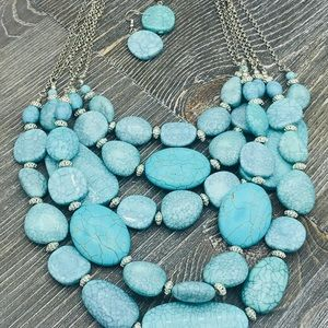 Multi strand necklace and earrings set - turquoise